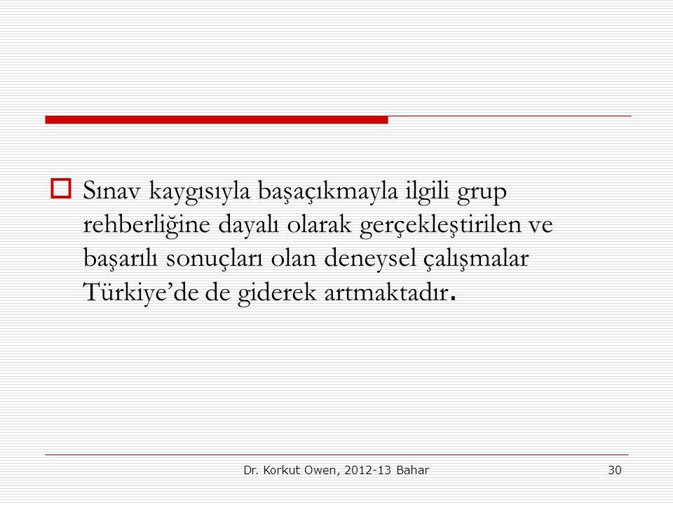  Sınav kaygısıyla başaçıkmayla ilgili grup rehberliğine dayalı olarak gerçekleştirilen ve başarılı sonuçları olan deneysel çalışmalar Türkiye'de de g
