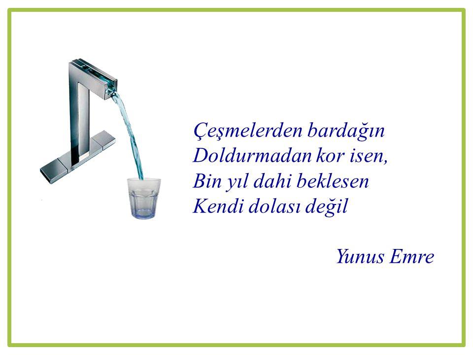 Çeşmelerden bardağın Doldurmadan kor isen, Bin yıl dahi beklesen Kendi dolası değil Yunus Emre