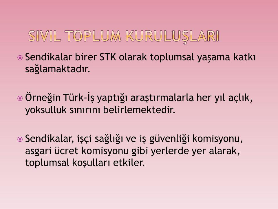  Sendikalar birer STK olarak toplumsal yaşama katkı sağlamaktadır.  Örneğin Türk-İş yaptığı araştırmalarla her yıl açlık, yoksulluk sınırını belirle