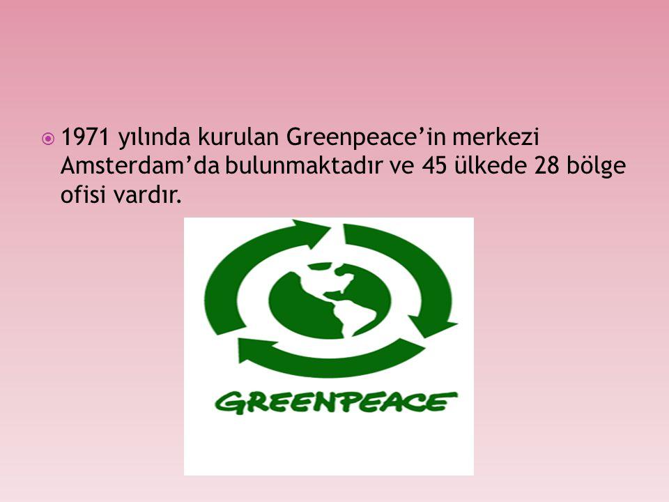  1971 yılında kurulan Greenpeace'in merkezi Amsterdam'da bulunmaktadır ve 45 ülkede 28 bölge ofisi vardır.