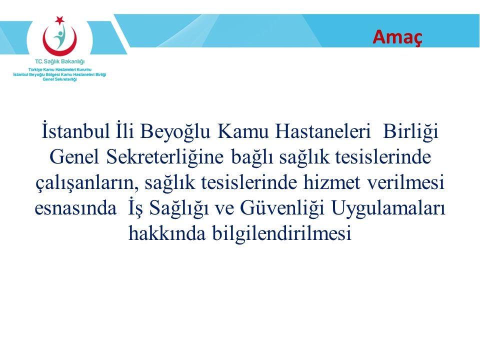 Amaç İstanbul İli Beyoğlu Kamu Hastaneleri Birliği Genel Sekreterliğine bağlı sağlık tesislerinde çalışanların, sağlık tesislerinde hizmet verilmesi e