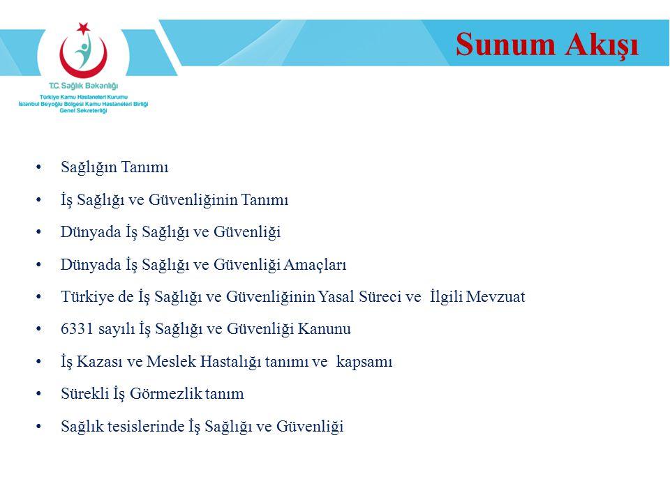 Sunum Akışı Sağlığın Tanımı İş Sağlığı ve Güvenliğinin Tanımı Dünyada İş Sağlığı ve Güvenliği Dünyada İş Sağlığı ve Güvenliği Amaçları Türkiye de İş S