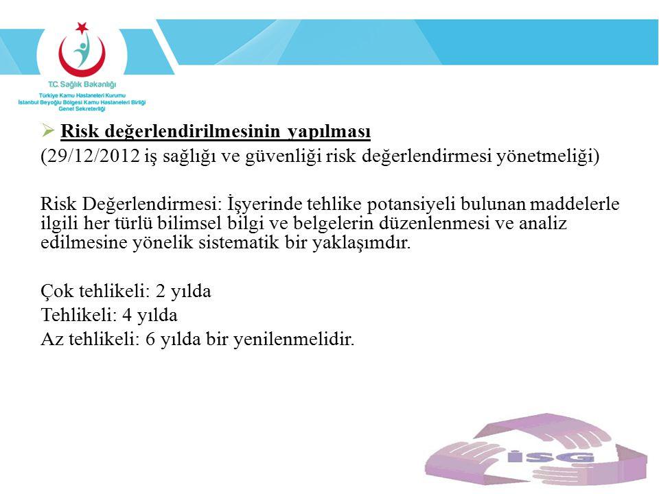  Risk değerlendirilmesinin yapılması (29/12/2012 iş sağlığı ve güvenliği risk değerlendirmesi yönetmeliği) Risk Değerlendirmesi: İşyerinde tehlike po