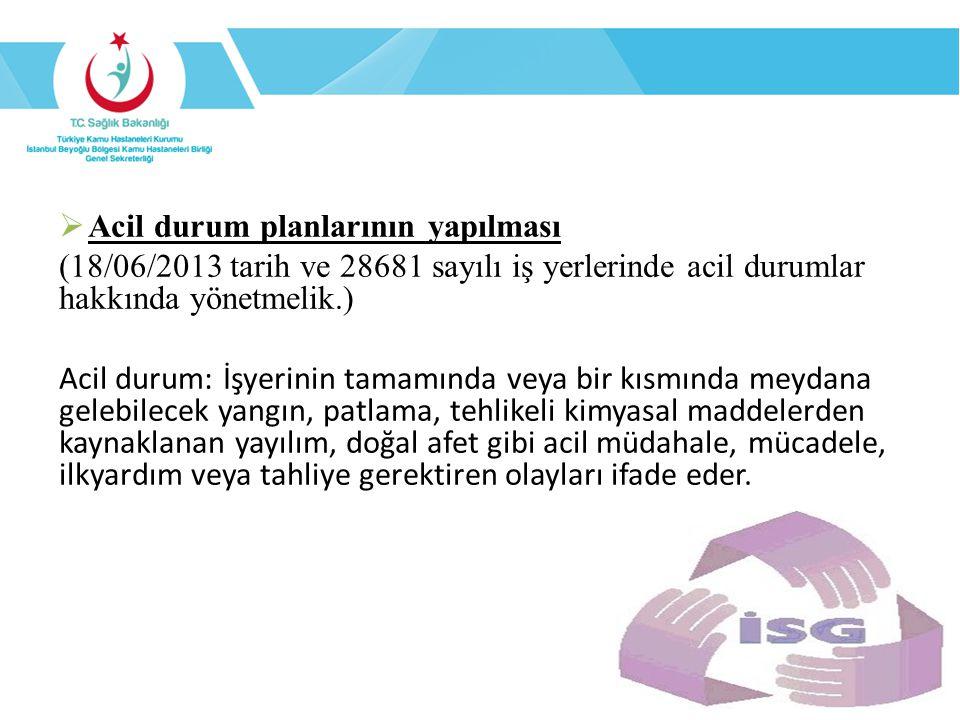  Acil durum planlarının yapılması (18/06/2013 tarih ve 28681 sayılı iş yerlerinde acil durumlar hakkında yönetmelik.) Acil durum: İşyerinin tamamında