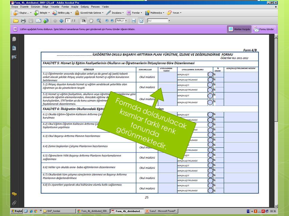 Form doldurulduktan sonra «Formu Gönder» düğmesi basılarak Milli Eğitim Müdürlüğü Ar-Ge Birimine ulaştırılabilir.