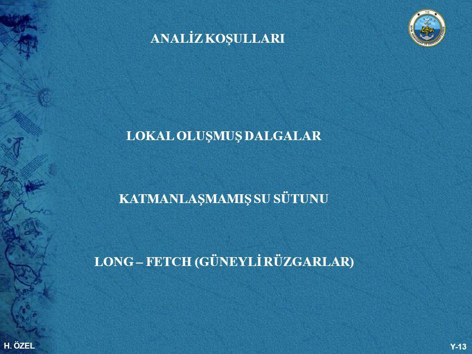 H. ÖZEL Y-13 ANALİZ KOŞULLARI LOKAL OLUŞMUŞ DALGALAR KATMANLAŞMAMIŞ SU SÜTUNU LONG – FETCH (GÜNEYLİ RÜZGARLAR)