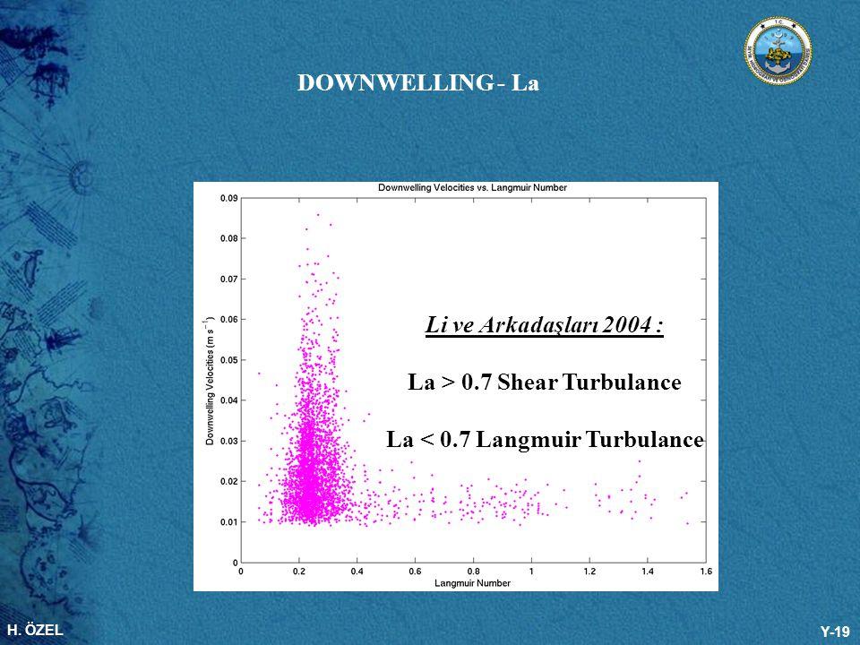 H. ÖZEL Y-19 Li ve Arkadaşları 2004 : La > 0.7 Shear Turbulance La < 0.7 Langmuir Turbulance DOWNWELLING - La