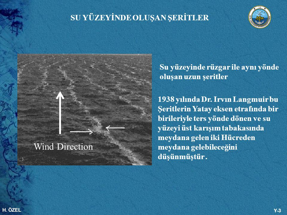H. ÖZEL Y-3 Wind Direction Su yüzeyinde rüzgar ile aynı yönde oluşan uzun şeritler 1938 yılında Dr. Irvın Langmuir bu Şeritlerin Yatay eksen etrafında
