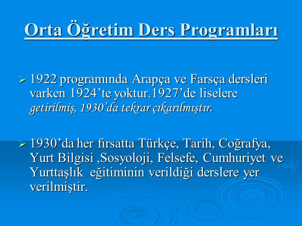 Orta Öğretim Ders Programları  1922 programında Arapça ve Farsça dersleri varken 1924'te yoktur.1927'de liselere getirilmiş, 1930'da tekrar çıkarılmıştır.