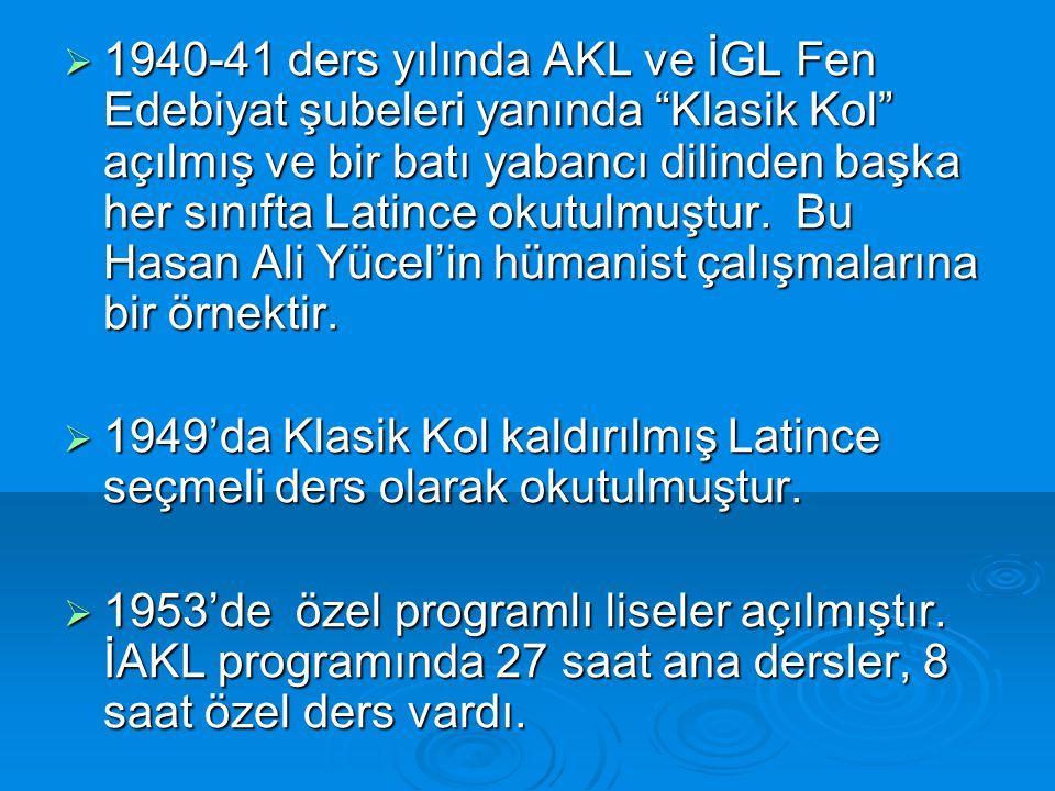  1940-41 ders yılında AKL ve İGL Fen Edebiyat şubeleri yanında Klasik Kol açılmış ve bir batı yabancı dilinden başka her sınıfta Latince okutulmuştur.