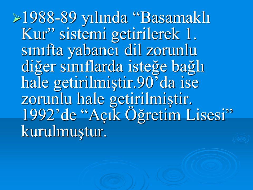 """ 1988-89 yılında """"Basamaklı Kur"""" sistemi getirilerek 1. sınıfta yabancı dil zorunlu diğer sınıflarda isteğe bağlı hale getirilmiştir.90'da ise zorunl"""