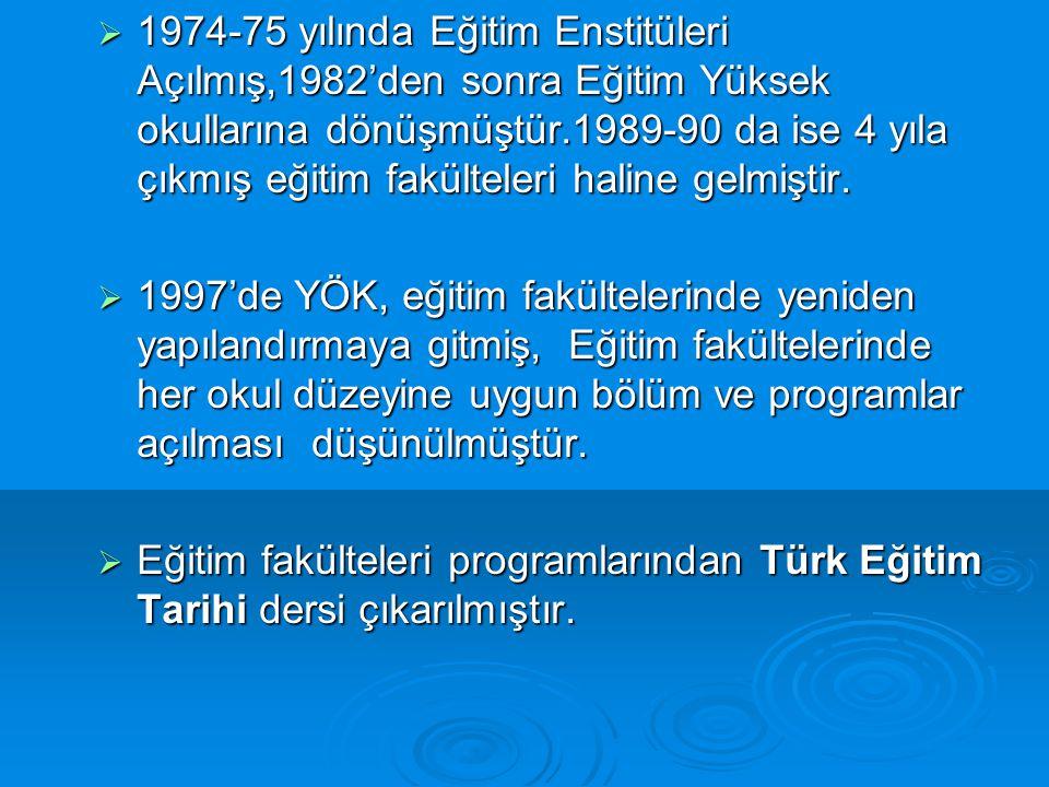  1974-75 yılında Eğitim Enstitüleri Açılmış,1982'den sonra Eğitim Yüksek okullarına dönüşmüştür.1989-90 da ise 4 yıla çıkmış eğitim fakülteleri halin