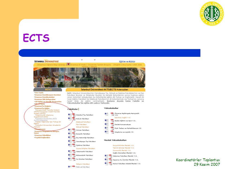 Koordinatörler Toplantısı 29 Kasım 2007 ECTS