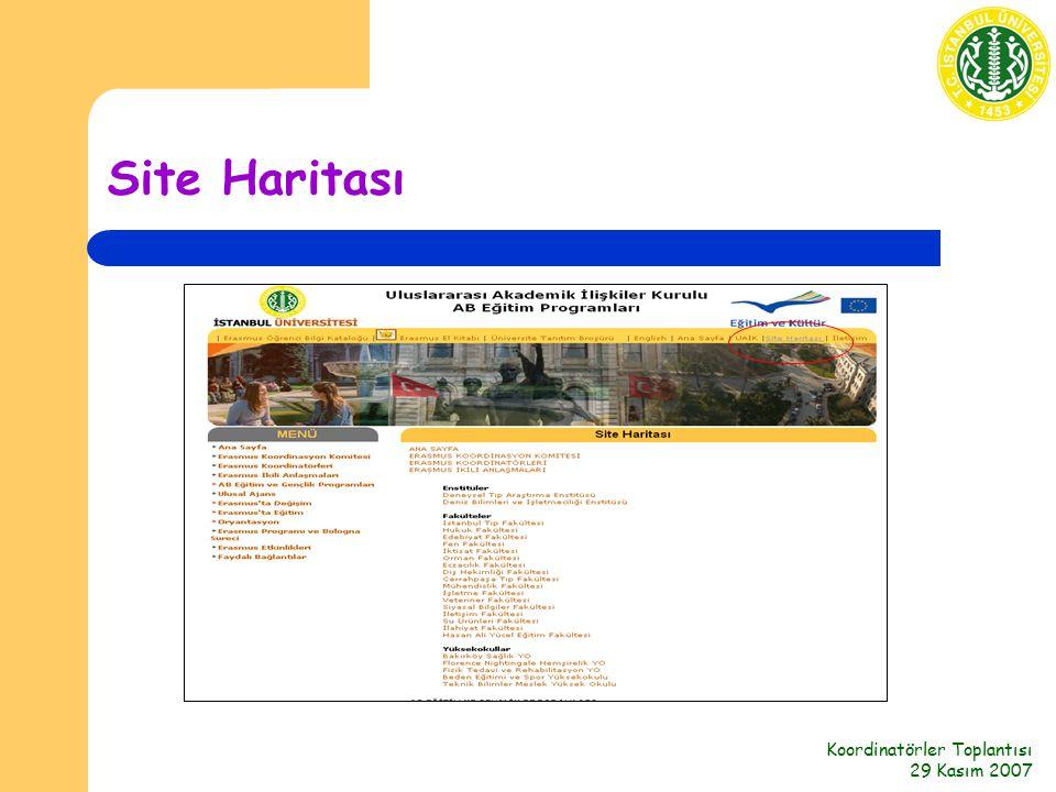 Koordinatörler Toplantısı 29 Kasım 2007 Site Haritası