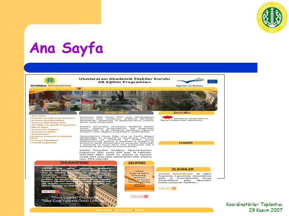 Koordinatörler Toplantısı 29 Kasım 2007 Ana Sayfa