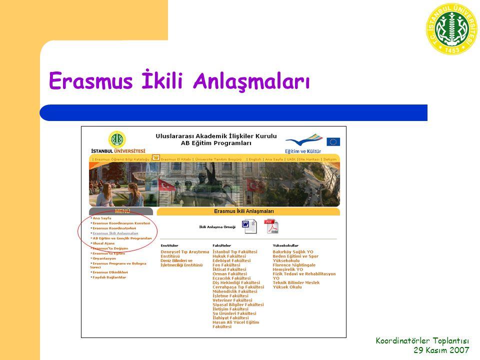 Koordinatörler Toplantısı 29 Kasım 2007 Erasmus İkili Anlaşmaları