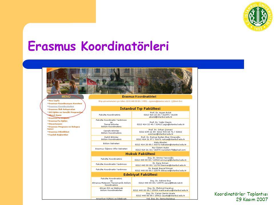 Koordinatörler Toplantısı 29 Kasım 2007 Erasmus Koordinatörleri