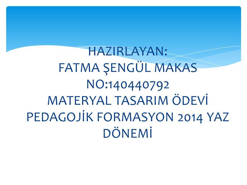 HAZIRLAYAN: FATMA ŞENGÜL MAKAS NO:140440792 MATERYAL TASARIM ÖDEVİ PEDAGOJİK FORMASYON 2014 YAZ DÖNEMİ