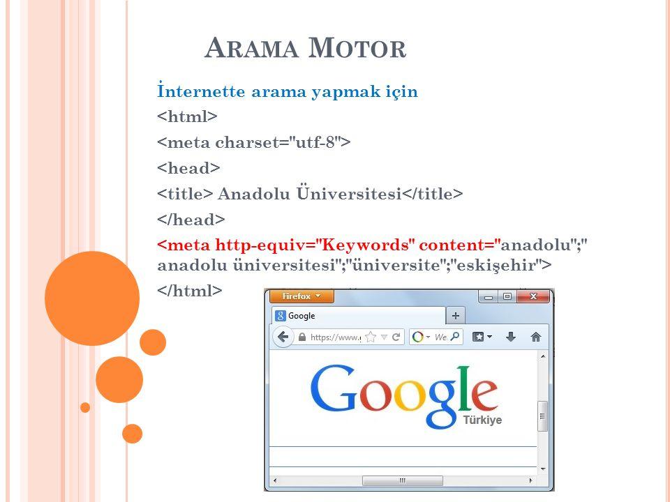 A RAMA M OTOR İnternette arama yapmak için Anadolu Üniversitesi