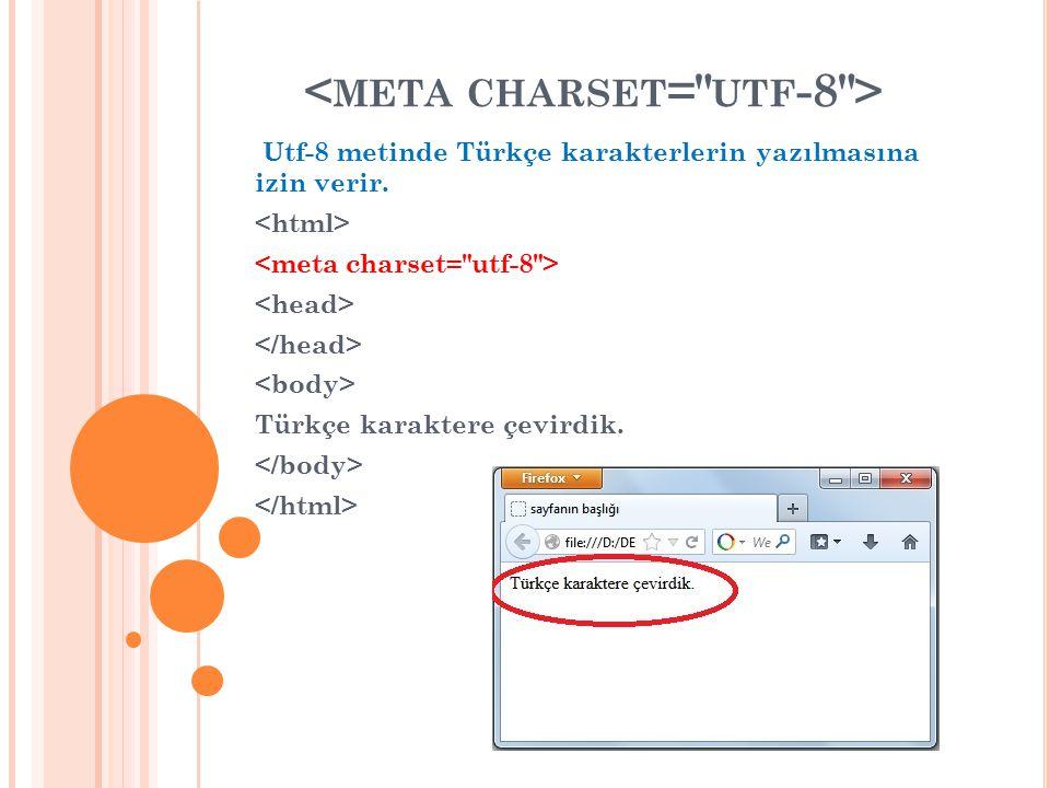 Utf-8 metinde Türkçe karakterlerin yazılmasına izin verir. Türkçe karaktere çevirdik.
