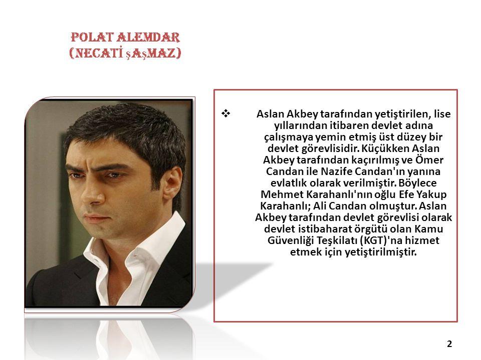 Yusuf YEŞİL 647 POLAT ALEMDAR (necat İ ş a ş maz)  Aslan Akbey tarafından yetiştirilen, lise yıllarından itibaren devlet adına çalışmaya yemin etmiş üst düzey bir devlet görevlisidir.