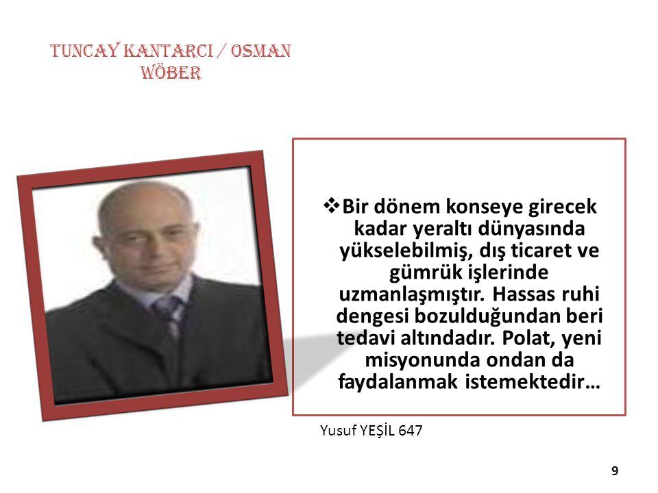 Yusuf YEŞİL 647 TUNCAY KANTARCI / Osman Wöber  Bir dönem konseye girecek kadar yeraltı dünyasında yükselebilmiş, dış ticaret ve gümrük işlerinde uzma
