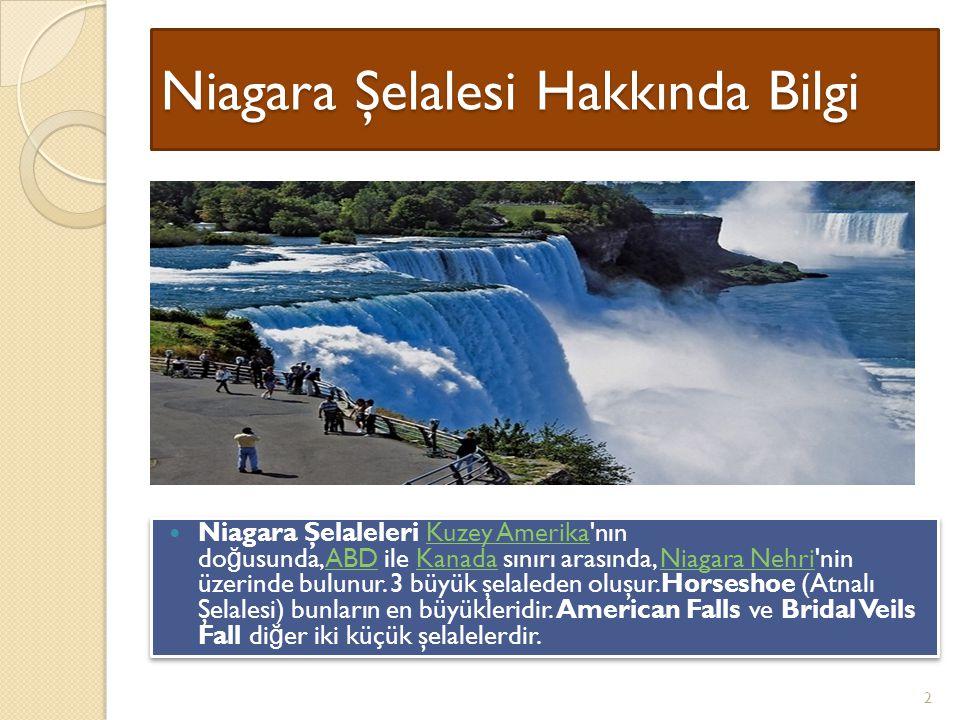 Niagara Şelalesi Hakkında Bilgi Niagara Şelaleleri Kuzey Amerika nın do ğ usunda, ABD ile Kanada sınırı arasında, Niagara Nehri nin üzerinde bulunur.