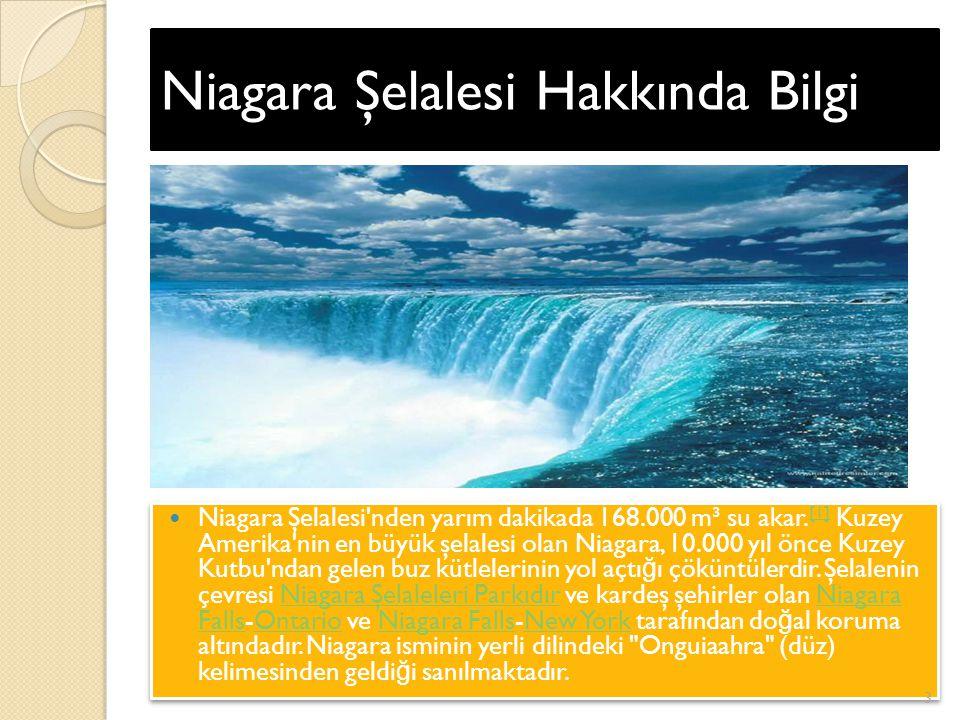 Niagara Şelalesi Hakkında Bilgi Niagara Şelalesi nden yarım dakikada 168.000 m³ su akar.