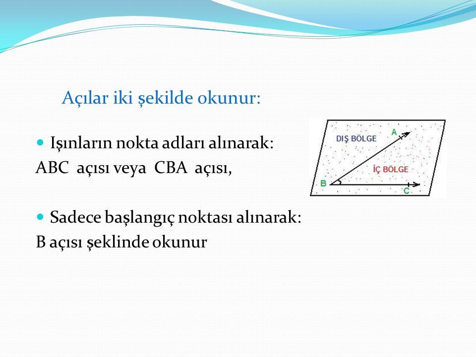 Işınların nokta adları alınarak: ABC açısı veya CBA açısı, Sadece başlangıç noktası alınarak: B açısı şeklinde okunur Açılar iki şekilde okunur: