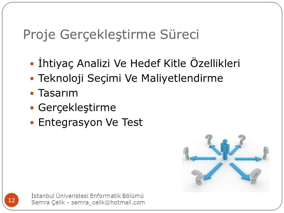 Proje Gerçekleştirme Süreci İhtiyaç Analizi Ve Hedef Kitle Özellikleri Teknoloji Seçimi Ve Maliyetlendirme Tasarım Gerçekleştirme Entegrasyon Ve Test İstanbul Üniveristesi Enformatik Bölümü Semra Çelik - semra_celik@hotmail.com 12
