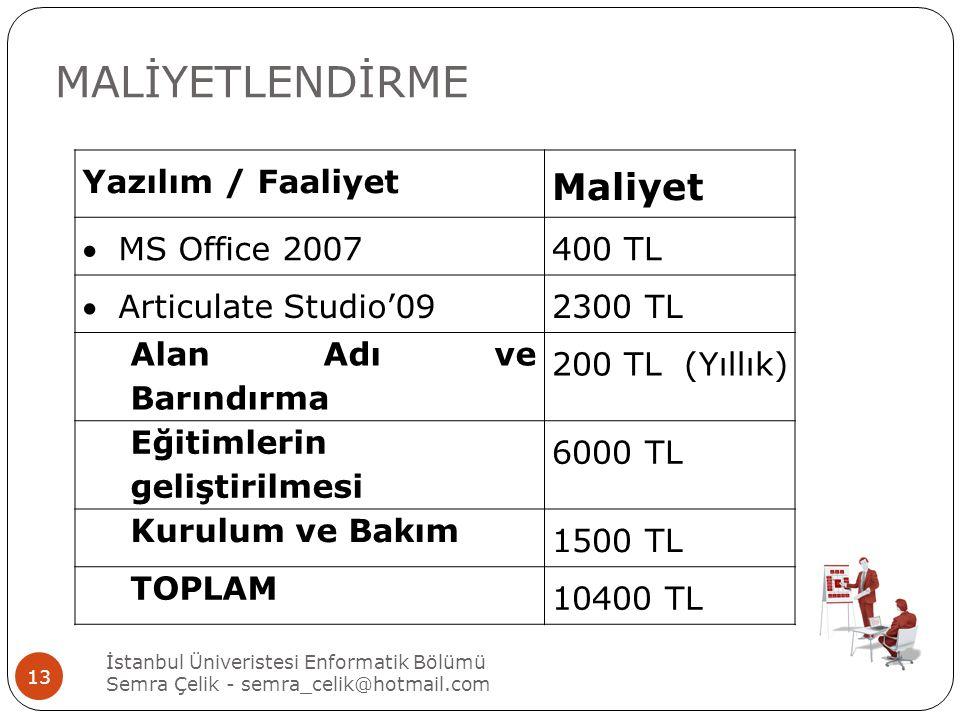 MALİYETLENDİRME Yazılım / Faaliyet Maliyet MS Office 2007400 TL Articulate Studio'092300 TL Alan Adı ve Barındırma 200 TL (Yıllık) Eğitimlerin geliştirilmesi 6000 TL Kurulum ve Bakım 1500 TL TOPLAM 10400 TL İstanbul Üniveristesi Enformatik Bölümü Semra Çelik - semra_celik@hotmail.com 13