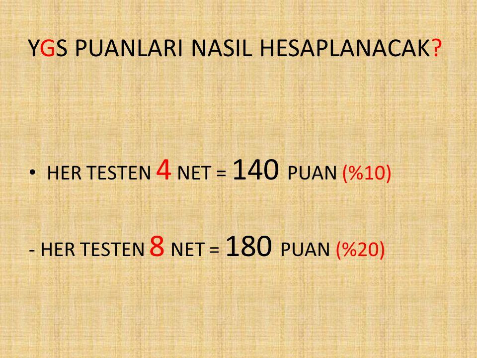 YGS PUANLARI NASIL HESAPLANACAK? HER TESTEN 4 NET = 140 PUAN (%10) - HER TESTEN 8 NET = 180 PUAN (%20)