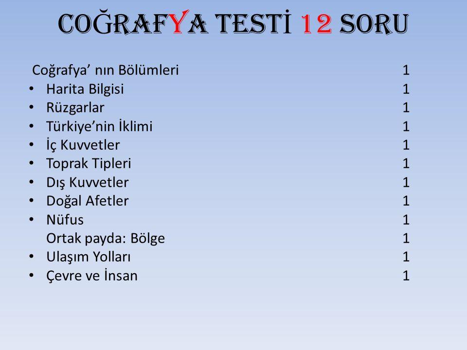 CO Ğ RAFYA TEST İ 12 SORU Coğrafya' nın Bölümleri 1 Harita Bilgisi 1 Rüzgarlar 1 Türkiye'nin İklimi 1 İç Kuvvetler 1 Toprak Tipleri 1 Dış Kuvvetler 1