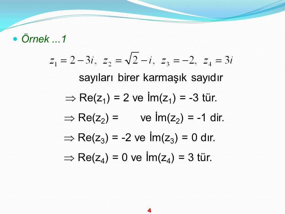 Örnek...1 sayıları birer karmaşık sayıdır  Re(z 1 ) = 2 ve İm(z 1 ) = -3 tür.