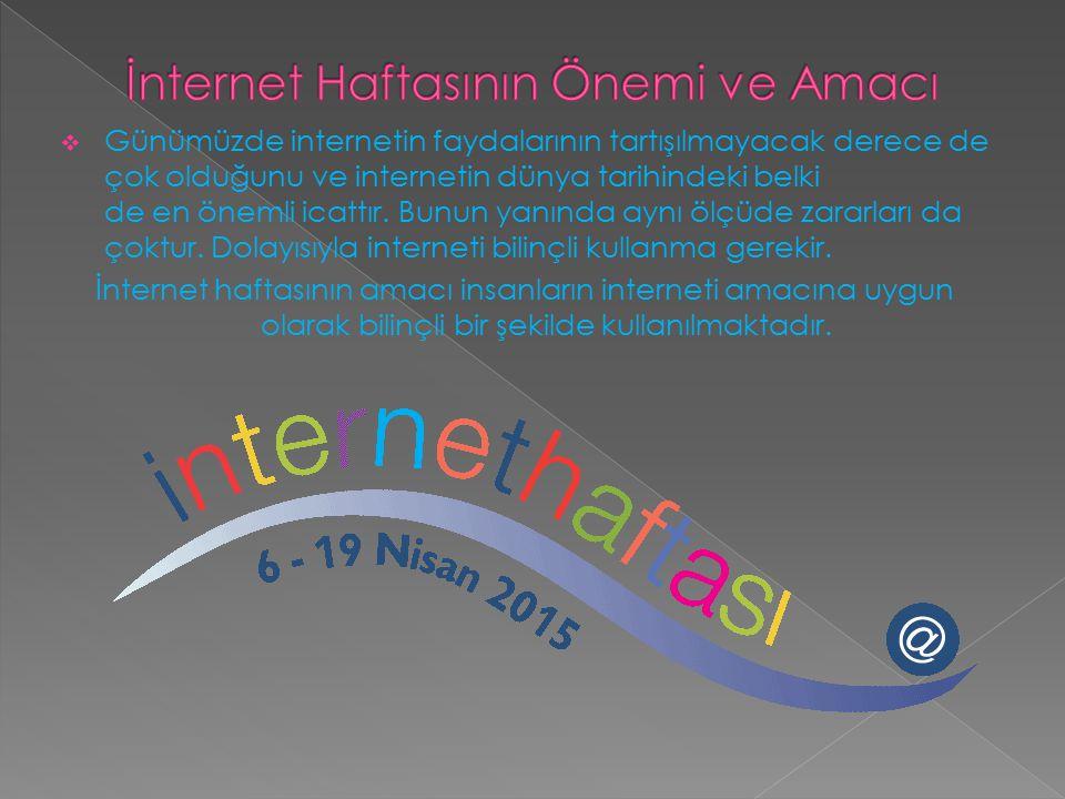  İnternet Haftası'nın Önemi/Amacı.  İnternet ile İlgili karikatürler/Açıklama.  İzmir'de İnternet Haftası Etkinlikleri.  İnternet Haftası ile ilgi