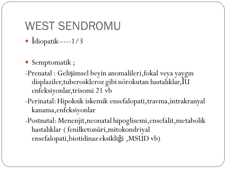 WEST SENDROMU İ diopatik-----1/3 Semptomatik ; -Prenatal : Geli ş imsel beyin anomalileri,fokal veya yaygın displaziler,tuberoskleroz gibi nörokutan hastalıklar, İ U enfeksiyonlar,trisomi 21 vb -Perinatal: Hipoksik iskemik ensefalopati,travma,intrakranyal kanama,enfeksiyonlar -Postnatal: Menenjit,neonatal hipoglisemi,ensefalit,metabolik hastalıklar ( fenilketonüri,mitokondriyal ensefalopati,biotidinaz eksikli ğ i,MSUD vb)