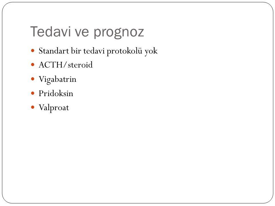 Tedavi ve prognoz Standart bir tedavi protokolü yok ACTH/steroid Vigabatrin Pridoksin Valproat