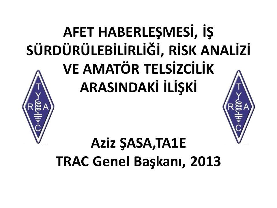 AFET HABERLEŞMESİ, İŞ SÜRDÜRÜLEBİLİRLİĞİ, RİSK ANALİZİ VE AMATÖR TELSİZCİLİK ARASINDAKİ İLİŞKİ Aziz ŞASA,TA1E TRAC Genel Başkanı, 2013