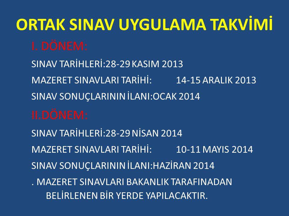 ORTAK SINAV UYGULAMA TAKVİMİ I. DÖNEM: SINAV TARİHLERİ:28-29 KASIM 2013 MAZERET SINAVLARI TARİHİ:14-15 ARALIK 2013 SINAV SONUÇLARININ İLANI:OCAK 2014
