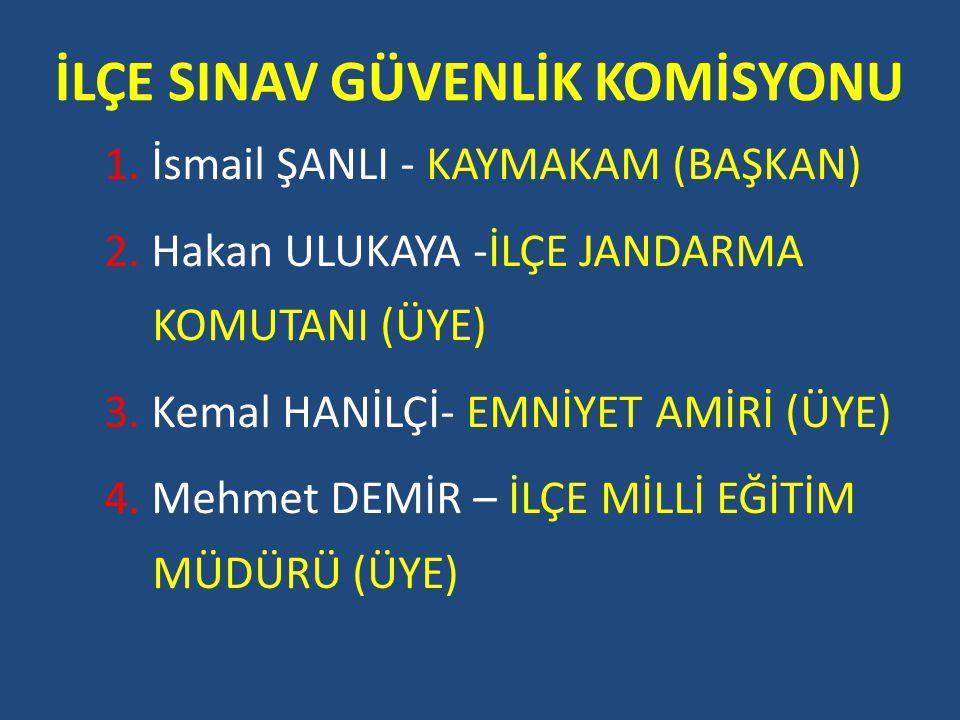 İLÇE SINAV YÜRÜTME KOMİSYONU 1.Mehmet DEMİR - MÜDÜR(BAŞKAN) 2.