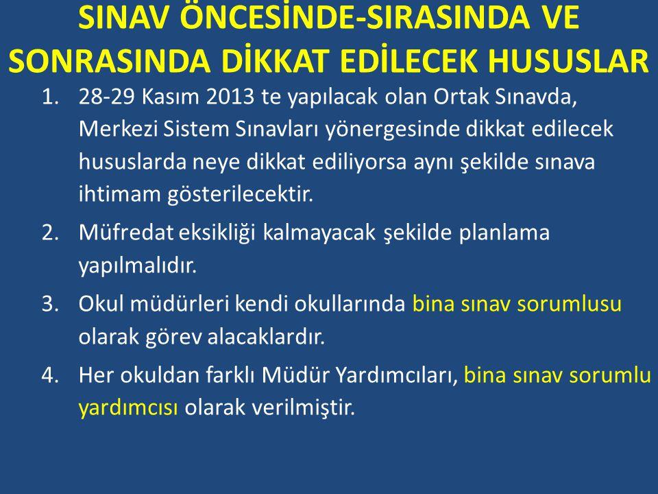 SINAV ÖNCESİNDE-SIRASINDA VE SONRASINDA DİKKAT EDİLECEK HUSUSLAR 1.28-29 Kasım 2013 te yapılacak olan Ortak Sınavda, Merkezi Sistem Sınavları yönerges