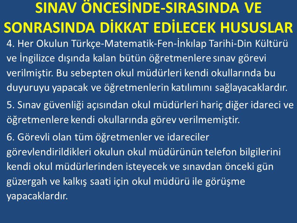 SINAV ÖNCESİNDE-SIRASINDA VE SONRASINDA DİKKAT EDİLECEK HUSUSLAR 22.