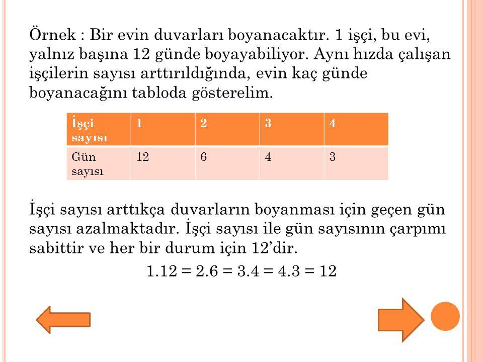 Not : Doğru orantılı niceliklerdeki miktarların bölümleri, ters orantılı niceliklerdeki miktarların çarpımları sabittir.