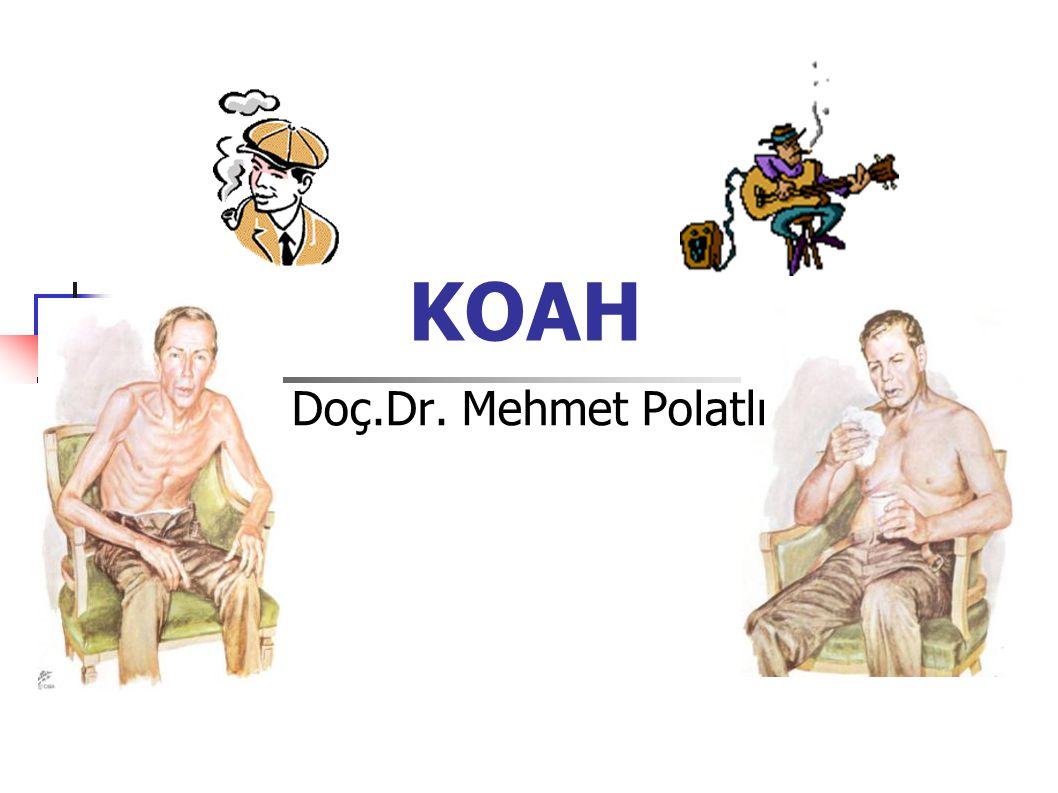 Kronik Obstrüktif Akciğer Hastalığı Ciddi bir morbidite ve mortalite nedenidir 600 milyon KOAH'lı hasta, yılda 2.5 milyonu ölmektedir Önlenebilir, fakat ihmal edilmiş durumdadır Yeterince teşhis edilmemektedir (% 25) Uygun bir şekilde tedavi edilmemektedir Türkiye'de durum diğer ülkelerden farklı değildir Ciddi bir morbidite ve mortalite nedenidir 600 milyon KOAH'lı hasta, yılda 2.5 milyonu ölmektedir Önlenebilir, fakat ihmal edilmiş durumdadır Yeterince teşhis edilmemektedir (% 25) Uygun bir şekilde tedavi edilmemektedir Türkiye'de durum diğer ülkelerden farklı değildir