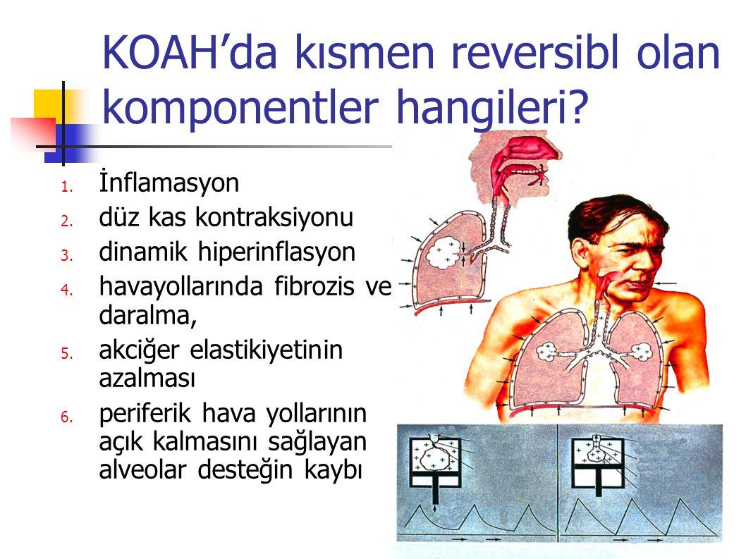 Obstrüksiyonda reversibl ve irreversibl öğeler Kısmen reversibl öğeler İnflamasyon, düz kas kontraksiyonu dinamik hiperinflasyon İrreversibl öğeler havayollarında fibrozis ve daralma, akciğer elastikiyetinin azalması periferik hava yollarının açık kalmasını sağlayan alveolar desteğin kaybı