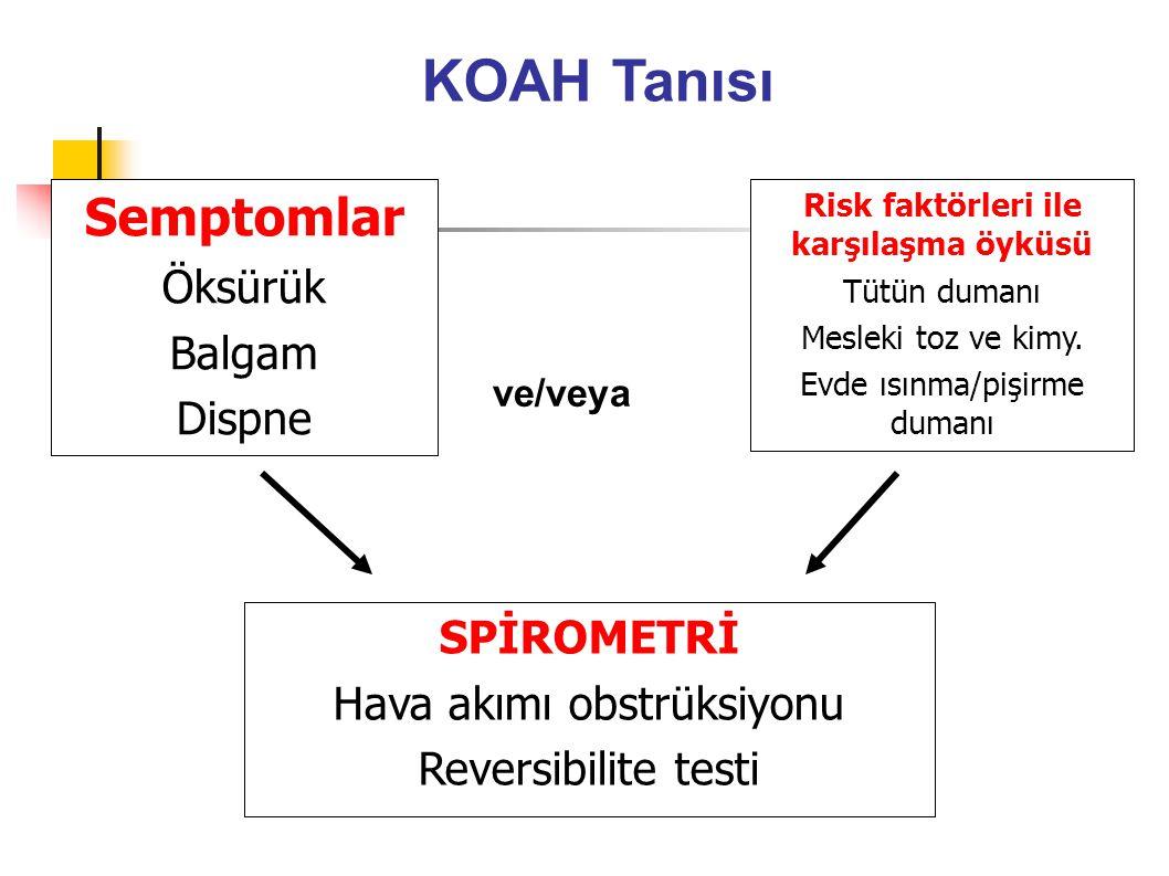 KOAH'da Anamnez Sigara öyküsü Çevresel maruziyet Öksürük (Kronik, prodüktif):sıklığı, süresi, prodüktif olup olmadığı, kan olup olmadığı.