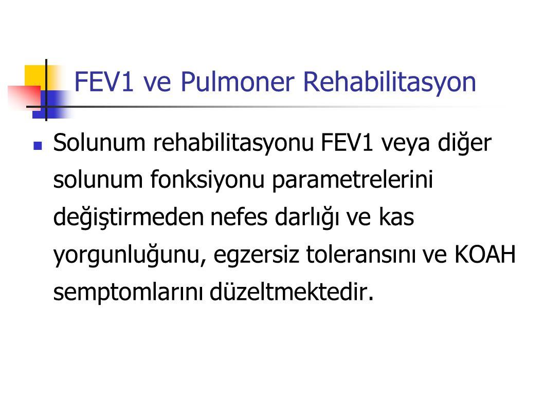 KOAH'da izlem kriterleri Akciğer fonksiyonunun diğer parametreleri tekrarlanabildikleri ve duyarlılıkları FEV1'e göre daha az Statik akciğer volümleri, DLCO İnspiratuvar kapasite, IC/TLC, vs Arteriyel kan gazları hastalığın şiddetini değerlendirme(örn., şiddetli KOAH, alevlenmeler) özgül tedavilere yanıtı değerlendirme VKİ