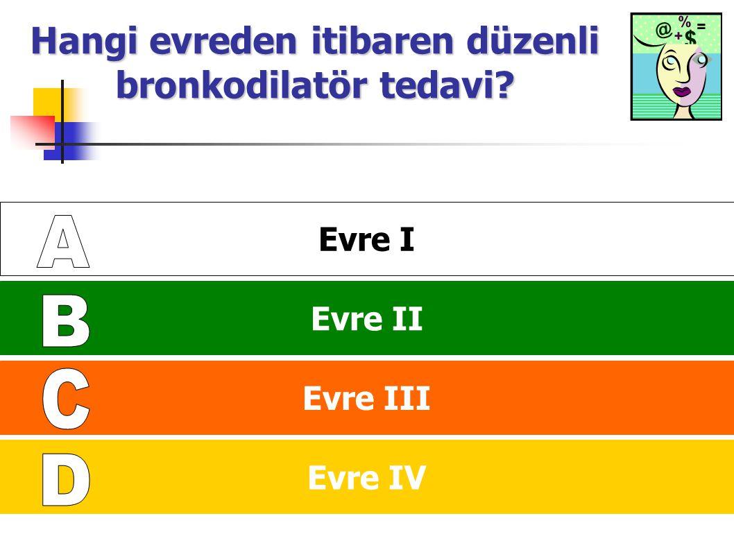 IV: Çok Ağır III: Ağır II: Orta I: Hafif KOAH'da Basamaklı Tedavi FEV 1 /FVC < 70% FEV 1 > 80% beklenen FEV 1 /FVC < 70% 50% < FEV 1 < 80% beklenen FEV 1 /FVC< 70% 30% < FEV 1 < 50% beklenen FEV 1 /FVC < 70% FEV 1 < 30% beklenen or FEV 1 < 50% beklenen ve kronik solunum yetmezliği Bir veya daha fazla uzun etkili bronkodilatatör Ekle Rehabilitasyon Ekle Tekrarlayan ataklar varsa inhaler kortikosteroid Ekle Risk faktörleri; influenza aşılama kısa etkili bronkodilatör (gereğinde) Ekle Kronik solunum yetmezliği varsa USOT Ekle.