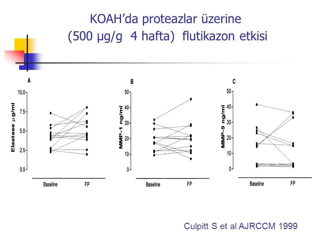 Teofilin (9-11 µg/ml) IL-8 düzeyini  ve balgam nötrofilik kemotaktik aktivitesini inhibe eder Teofilin ile tedavi sonrası Nötrofil kemotaksisi Culpitt S et al AJRCCM 2002