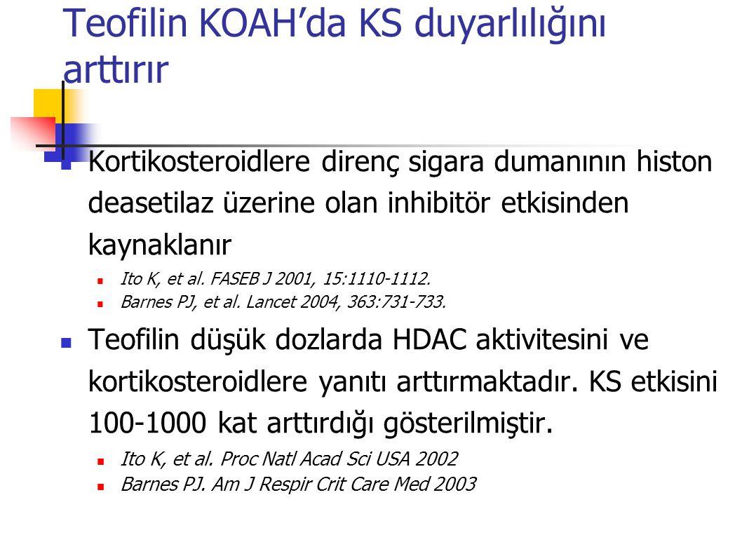 Teofilin düşük konsantrasyonlarda PDE4 inhibisyonu sağlamıyorsa da, HDAC aktivitesini uyarır ve böylece steroid etkisini güçlendirir Teofilinin bu etkisi oksidatif stres durumunda daha da artmaktadır Teofilinin antiinflamatuar etkisi Caramori G, Adcock I.